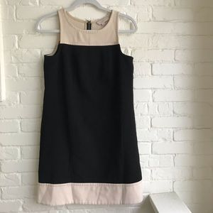 Loft color block black / tan midi dress sZ 6